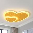 Modern Double Heart Ceiling Mount Light Metal Candy Colored LED Flush Light for Child Bedroom