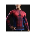 Mens Cool Red Spider Pattern Round Neck Long Sleeve Quick Drying Fitness Tight Tee
