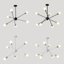 Metal Starburst Pendant Lamp 6/8 Lights Simple Stylish Chandelier in Black/White for Bedroom
