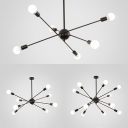 Shop Starburst Shaped Hanging Light Metal 6/8/12 Lights Creative Black Chandelier Light