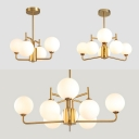 Glass Globe Shade Chandelier Bedroom 4/6/8 Lights Simple Stylish Suspension Light in White