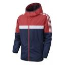 Mens Outdoor Training Running Colorblocked Windbreaker Zip Up Hooded Sport Track Jacket