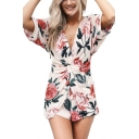 Summer Womens Fashion Floral Pattern Twist V-Neck Short Sleeve Cutout Back Rompers