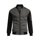 Mens New Trendy Black and Grey Colorblocked Stand Collar Long Sleeve Zipper Front Casual Jacket