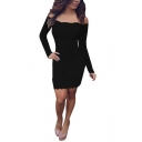 Summer Sexy Off the Shoulder Long Sleeve Chic Scalloped Hem Mini Bodycon Lace Dress