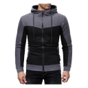Mens New Stylish Colorblocked Patchwork Long Sleeve Zip Closure Slim Fitted Hoodie