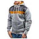 Mens New Fashion PU Patched Long Sleeve Sport Loose Zip Up Drawstring Hoodie