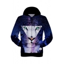 New Trendy 3D Blue Galaxy Cool Triangle Tiger Head Printed Long Sleeve Zip Up Sport Hoodie