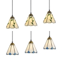 Glass Cone Island Pendant 3 Lights Tiffany Style Island Light in Beige/White for Living Room