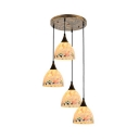 Tiffany Modern Domed Hanging Lamp Glass 4 Lights White Pendant Light for Restaurant Cafe