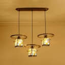 Creative House Shape Pendant Lamp with Wheel Decoration 3 Heads Stained Glass Hanging Light for Cafe