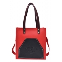 Popular Color Block Letter BAIGETU AND FASHION BAGS Pattern PU Leather Shoulder Tote Bag for School 30*32*10 CM
