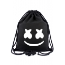 Popular Printed Black Canvas Drawstring Harness Pocket Backpack 34*40 CM