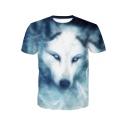 New Trendy 3D Blue Wolf Pattern Round Neck Short Sleeve T-Shirt