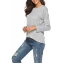 Womens Basic Simple Solid Color Round Neck Long Sleeve Casual Grey Sweatshirt