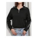 Womens Simple Letter Print Long Sleeve Half-Zip Stand Collar Black Casual Sweatshirt