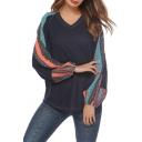 Hot Popular Tribal Geometric Printed Lantern Long Sleeve V-Neck Casual Loose Knit T-Shirt