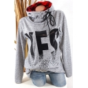 Cool Unique Letter YES Printed Funnel Neck Long Sleeve Plaid Patched Casual Hoodie