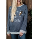 Cool Simple Letter LET IT SNOW Print Round Neck Long Sleeve Loose Casual Blue Sweatshirt