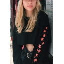 Chic Simple Star Pattern Round Neck Long Sleeve Black Cropped Sweatshirt