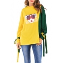 Fashion Cartoon Girl Pattern Two-Tone Colorblock Bow-Tied Cuff Long Sleeve Yellow Sweatshirt