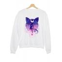 Funny Sailor Moon Galaxy Cat Printed Crewneck Long Sleeve Casual Loose White Sweatshirt