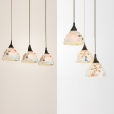 Glass Domed Shape Ceiling Light 3 Heads Tiffany Stylish Suspension Light in White for Study Room