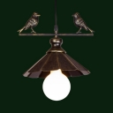 Metal Scalloped Edge Hanging Light with Bird One Head Antique Style Pendant Lamp in Rust for Balcony