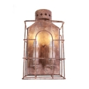 Rust Cage Wall Sconce with Candle 2 Lights Retro Loft Metal Wall Light for Villa Front Door