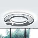Adult Bedroom Circle Flush Mount Light Acrylic Simple Style Gray/White LED Ceiling Fixture in Warm/White