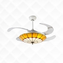 42 Inch Tiffany LED Ceiling Fan Dome Shade Stained Glass Semi Ceiling Mount Light for Hotel