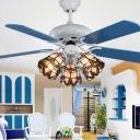 Multi-Color Bell Ceiling Fan 3 Lights Victorian Glass Semi Ceiling Mount Light for Living Room