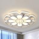 Elegant Flower LED Flush Light Crystal Ceiling Mount Light in Warm/White for Living Room
