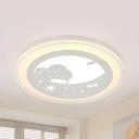 Lovely Sleeping Bunny Ceiling Mount Light Metal LED Flush Light in Warm/White for Child Bedroom