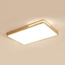 White Rectangle LED Flush Ceiling Light Japanese Style Wood Flush Light in Warm/White for Kindergarten