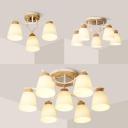 Frosted Glass Bucket Semi Flush Mount Light 3/5/7 Lights Modern Stylish Ceiling Light in White
