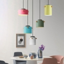 Aluminum Drum Shade Pendant Light 1 Light Macaron Loft Candy Colored Suspension Light for Cloth Shop