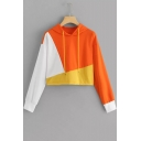 Girls Trendy Color Block Long Sleeve Casual Sport Cropped Orange Drawstring Hoodie