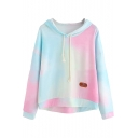 Popular Ombre Color Long Sleeve Loose Fit Pullover Drawstring Hoodie