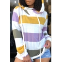 Fashion Stripe Color Block Womens Long Sleeve Casual Loose Pullover Hoodie