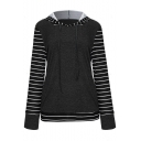 Trendy Color Block Stripe Printed Long Sleeve Loose Fit Pullover Hoodie