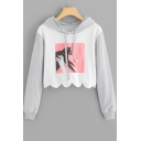 Cute Cat Print Curved Hem Long Sleeve Cropped Loose Grey Hoodie