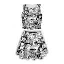 Ahegao Comic Girl Pattern Cropped Tank Top with Mini A-Line Skirt Black Two-Piece Set