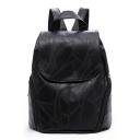 Fashion Plain Sewing Thread Black PU Leather Travel Bag School Backpack with Side Zipper Pocket 29*15*30 CM
