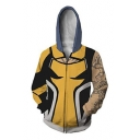 New Stylish Popular 3D Comic Cosplay Costume Long Sleeve Zip Front Relaxed Yellow Hoodie