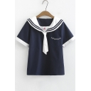 Girls Cute Sailor Collar Short Sleeve Loose Fitted T-Shirt