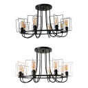 Villa Round Semi Flush Mount Light Metal 8 Lights American Rustic Ceiling Lamp in Black/Black & Gold