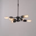 Glass Open Bulb Chandelier Office Restaurant 6 Lights Retro Loft Hanging Light in Black Finish