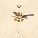 42/48/52 Inch Antique Ceiling Fan Bell Shade 3 Lights Stained Glass Semi Flush Mount Light for Living Room