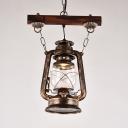 Industrial Kerosene Hanging Light 1 Head Glass Pendant Lamp in Bronze for Restaurant Bar